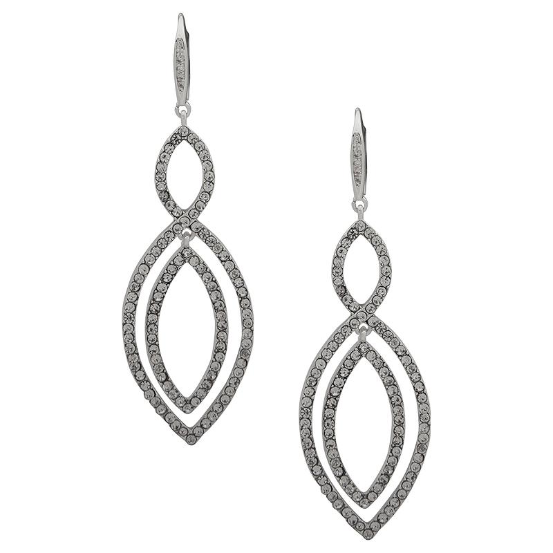 0b973ad8cd6f2 Anne Klein Interlock Orbital Drop Earrings - Silver