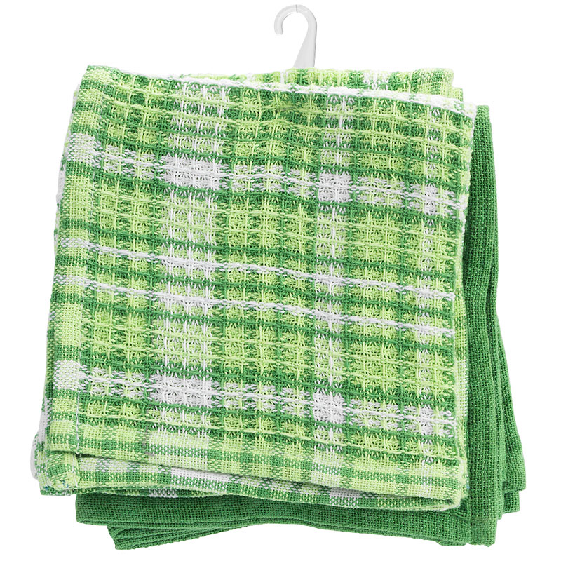 Kitchen Style Waffle Dish Cloth - Green - 4 pack