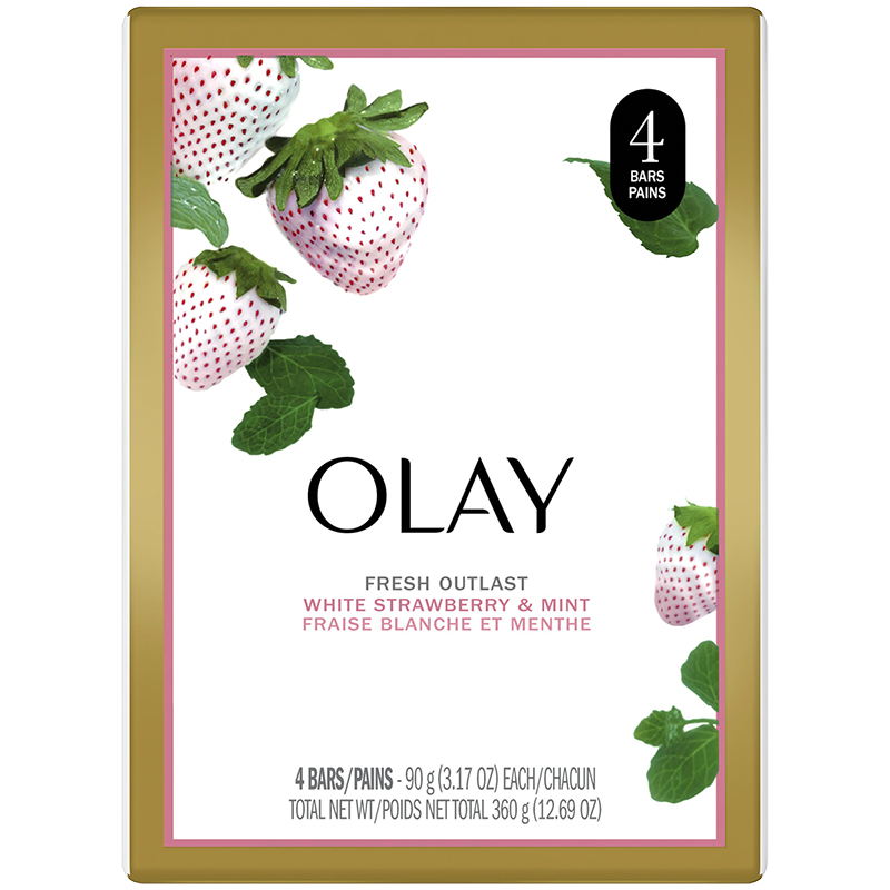 Olay Fresh Outlast Beauty Bar -  Cooling White Strawberry & Mint - 4 x 90g