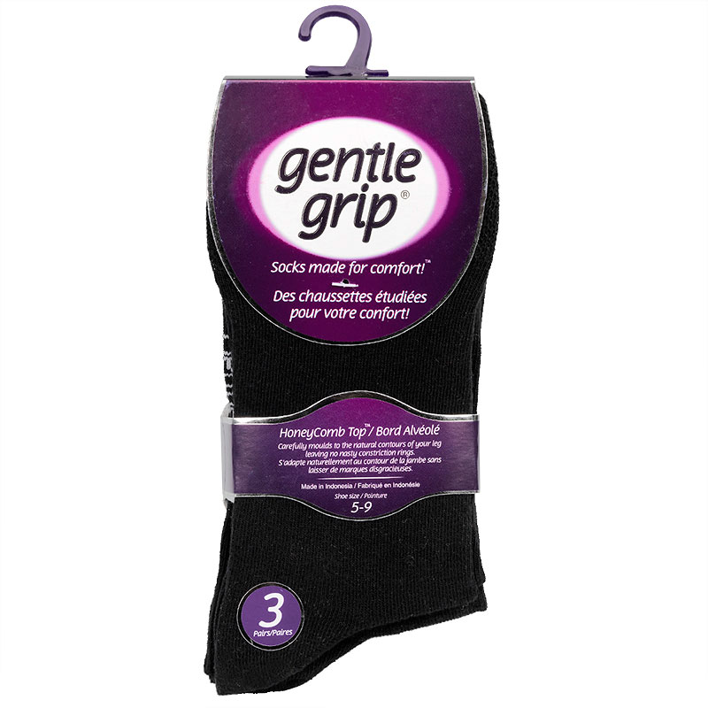 Gentle Grip Ladies Crew Sock - Solid Black