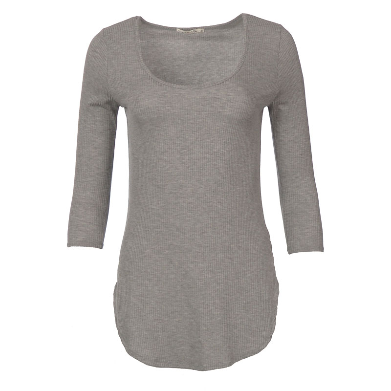 Lava Ribbed Top - Heather Grey