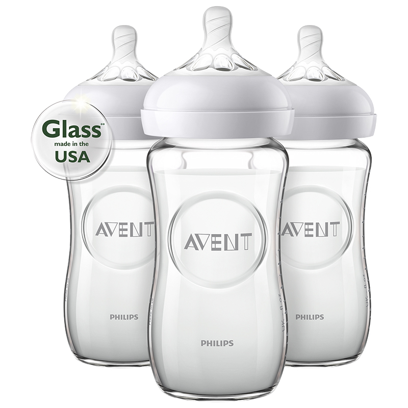 Avent Natural Glass Baby Bottle - 3 x 240ml