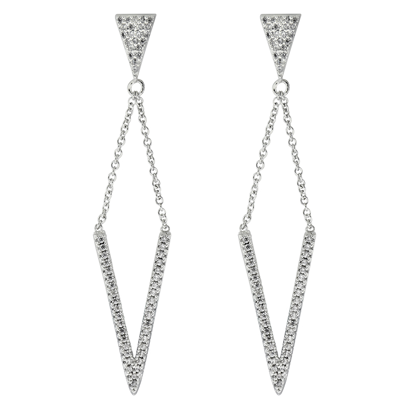 Puccini Cubic Zirconia V Shape Drop Earrings