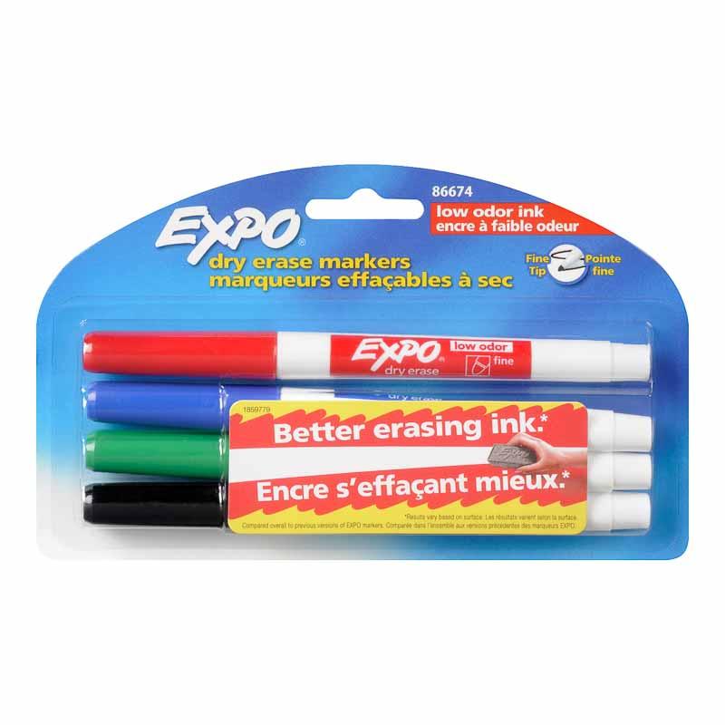 Expo Low Odor Dry Eraser Fine Tip 4 Pack