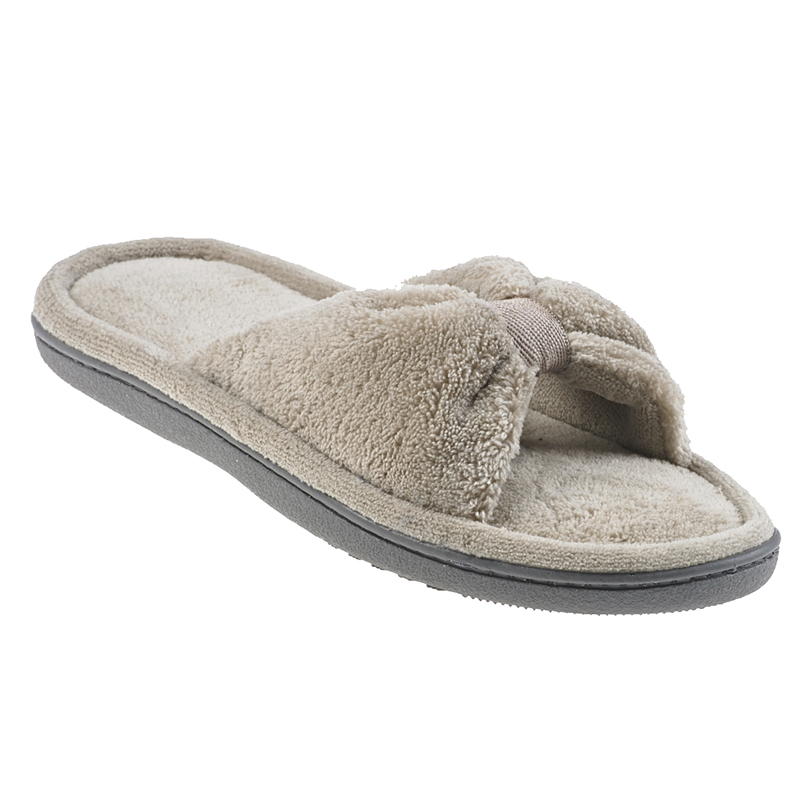 Isotoner Microterry with Fabric Knot Ladies Slipper