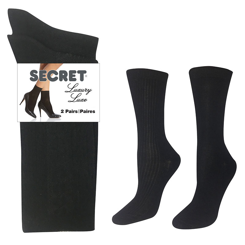 Secret Luxury Textured Crew Sock - Black - 2 pair
