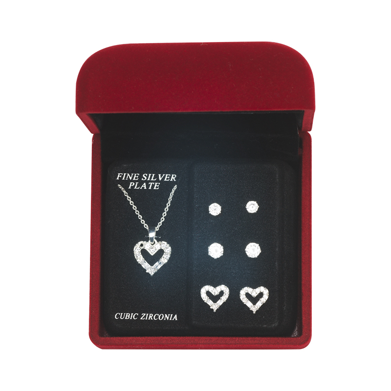 Danecraft Cubic Zirconia Jewelry Box Set - Heart