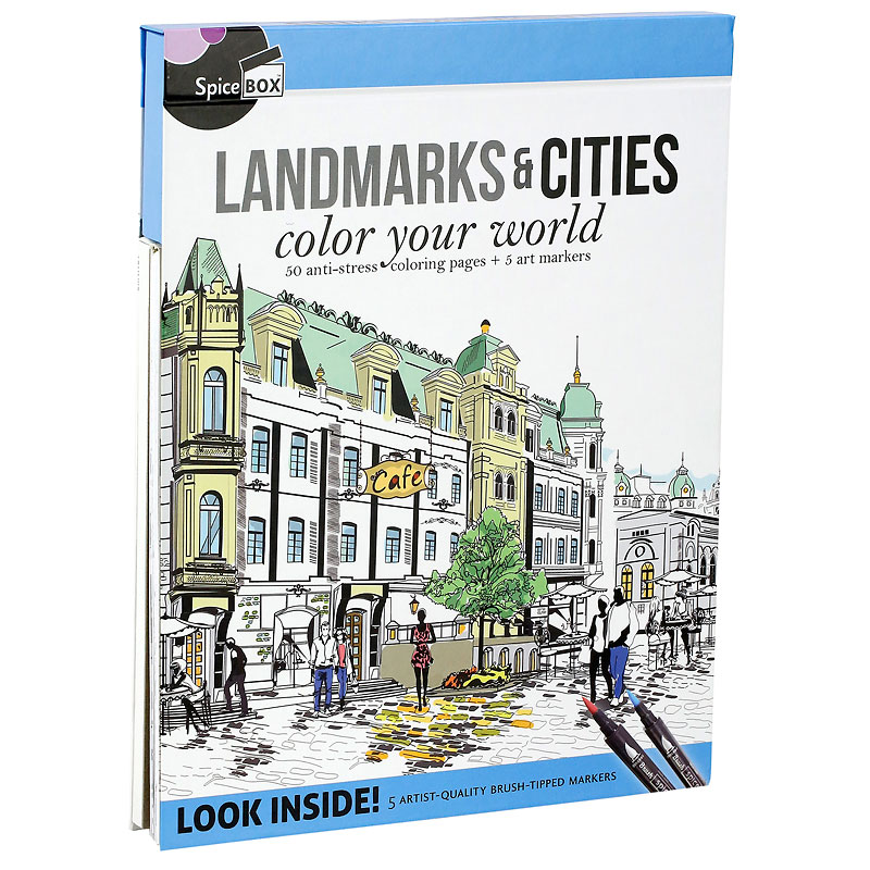 Spicebox Landmarks & Cities Colouring Book