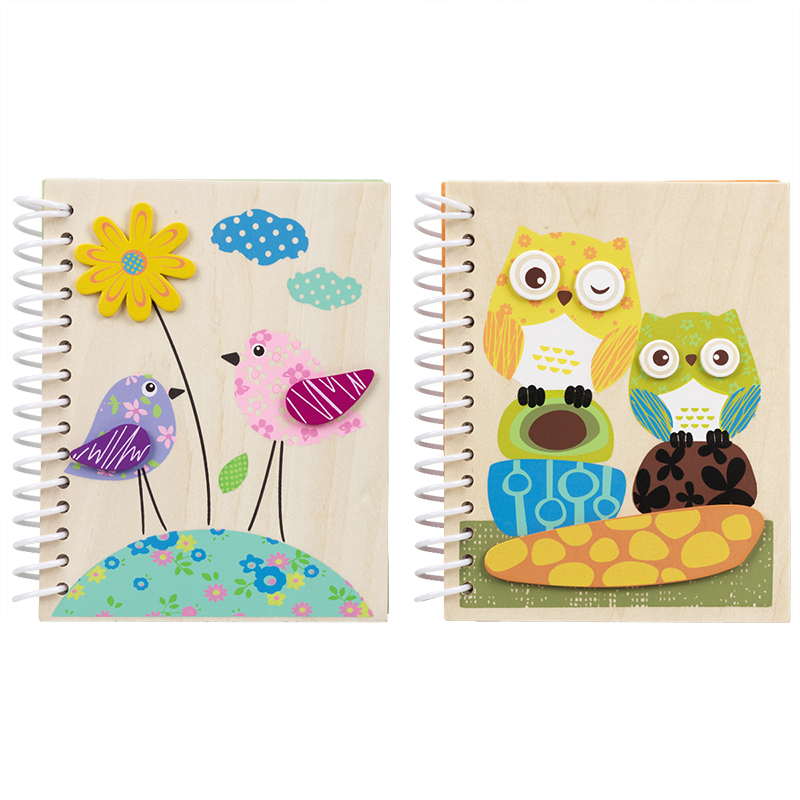 Owl/bird Wooden Notebook - Assorted