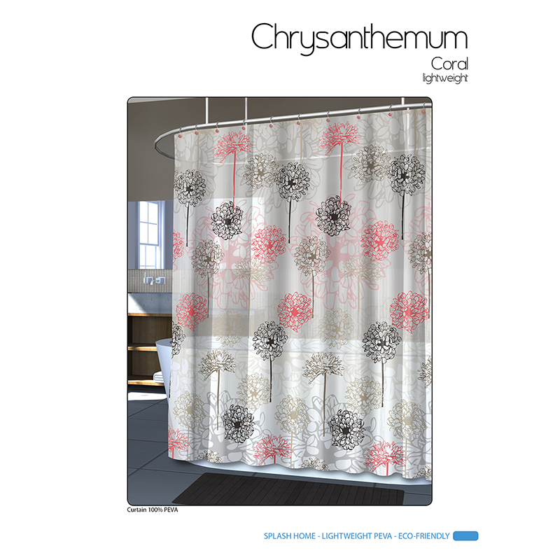 Splash Vinyl Shower Curtain - Chrystals Coral