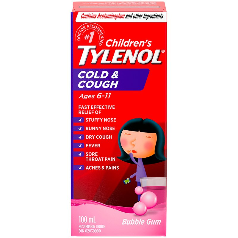 Tylenol* Child's Cold Plus Cough DM Liquid - Bubble Gum - 100ml