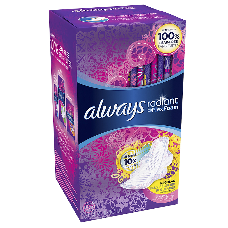 Always Radiant Pads - Regular - 30's