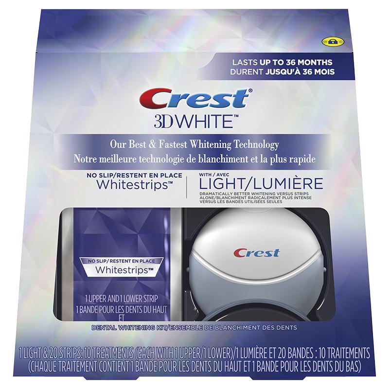 Crest 3D White Strips Dental Whitening Kit With Light