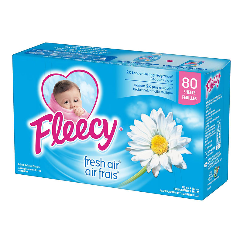 Fleecy Fabric Softener Sheets - Fresh Air - 80's