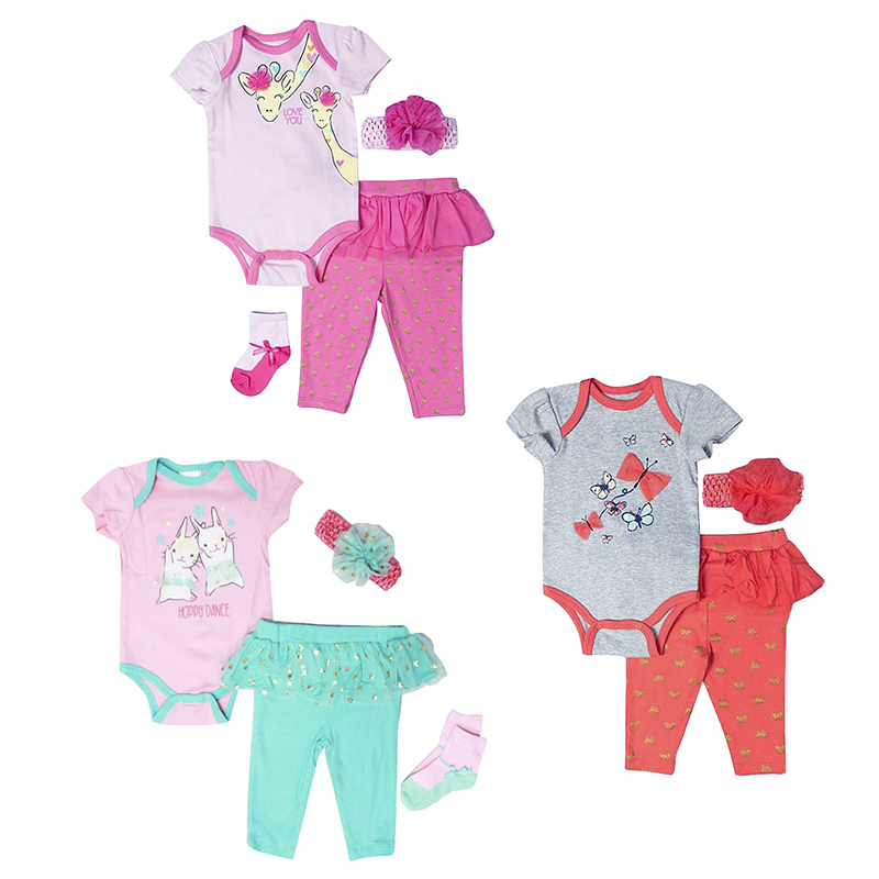 Baby Mode 4-Piece Bodysuit Set - Girls - 0-9 months - Assorted