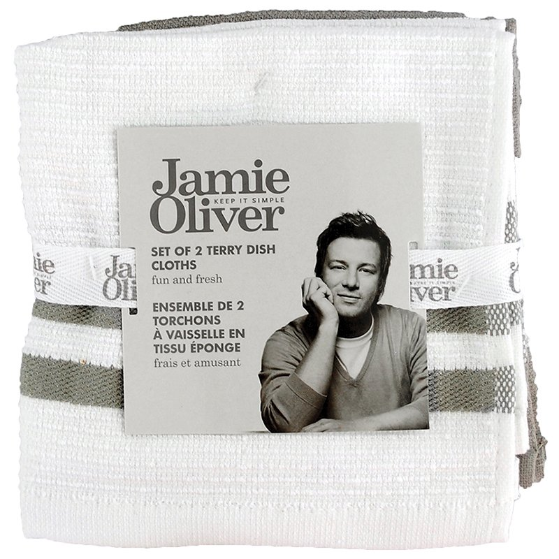 Jamie Oliver Ribbed Terry Dish Cloth - Grey - 2 pack