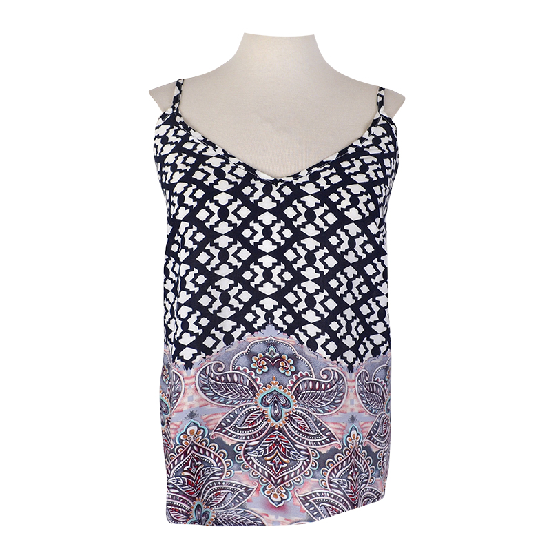 Lava Border Printed Tank Top - Ivory/Blue