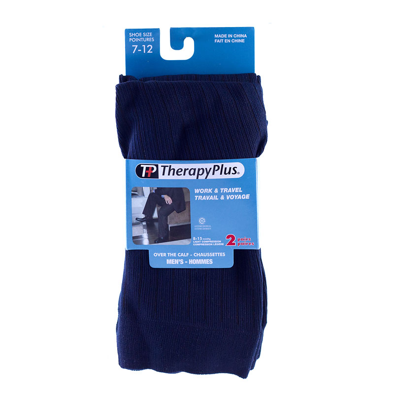 Therapy Plus Over the Calf Socks - Navy - 2 Pair - Size 7 to 12