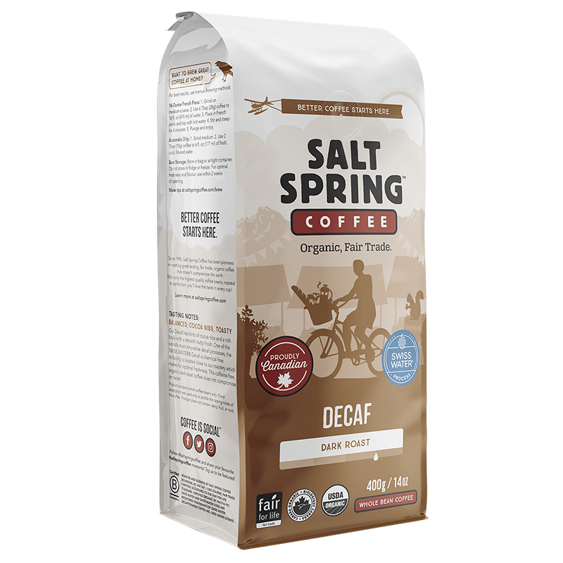 Salt Spring Coffee Swiss Water Decaf - Whole Bean - 400g