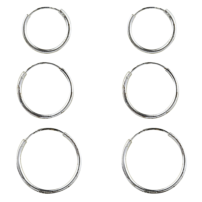 Charisma Sterling Silver 3-Hoop Trio Earring Set