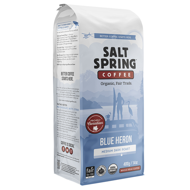 Salt Spring Coffee Blue Heron - Medium Dark Roast - Whole Bean - 400g