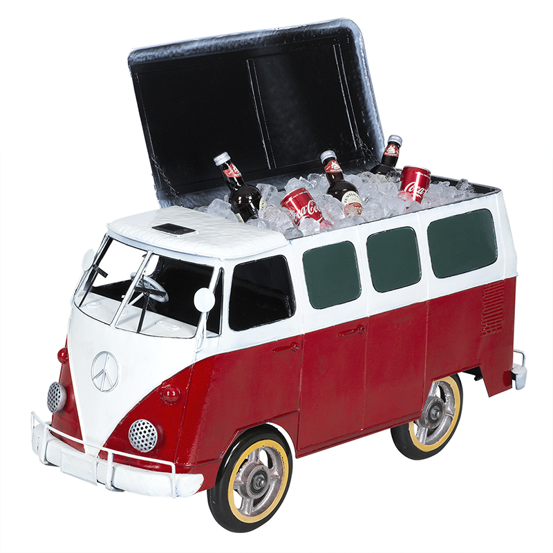 Hand Craft Cooler with Plastic Wheels - Volkswagen Van - Red