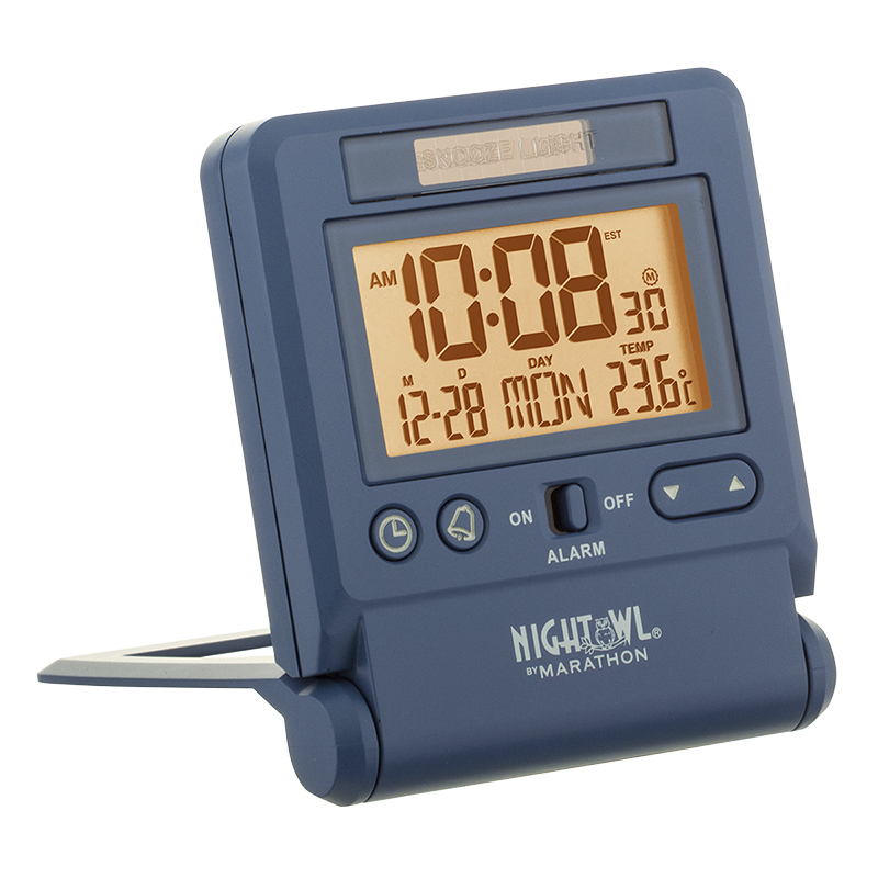 Marathon Atomic Travel Alarm Clock - Blue - CL030036BL