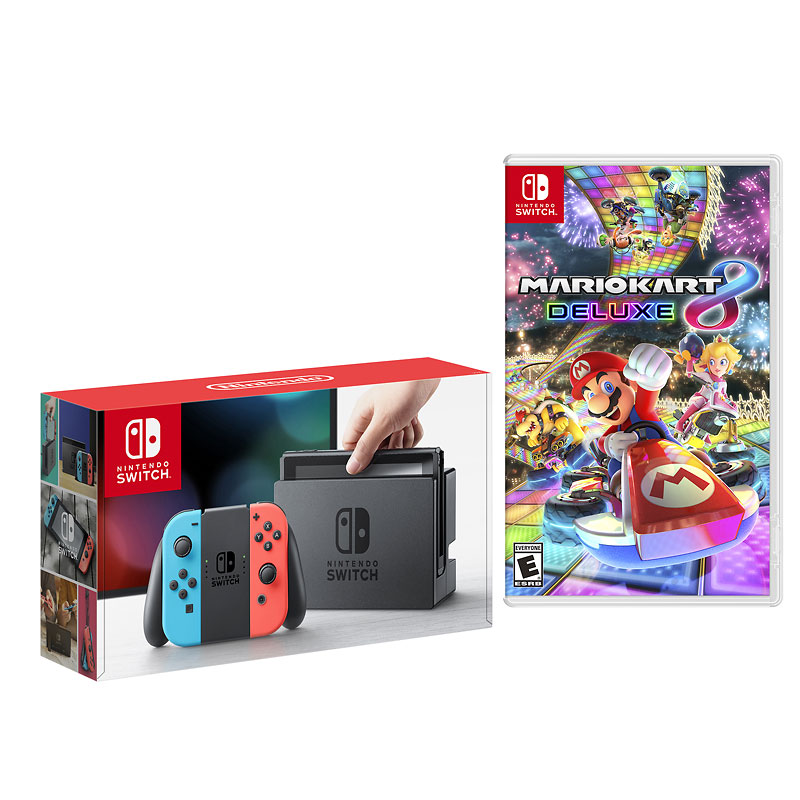 Nintendo Switch Red/Blue with Nintendo Mario Kart 8 Deluxe - PKG #19505