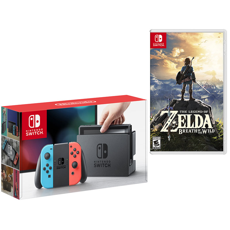 Nintendo Switch Red/Blue with Nintendo The Legend of Zelda: Breath of the Wild - PKG #19507