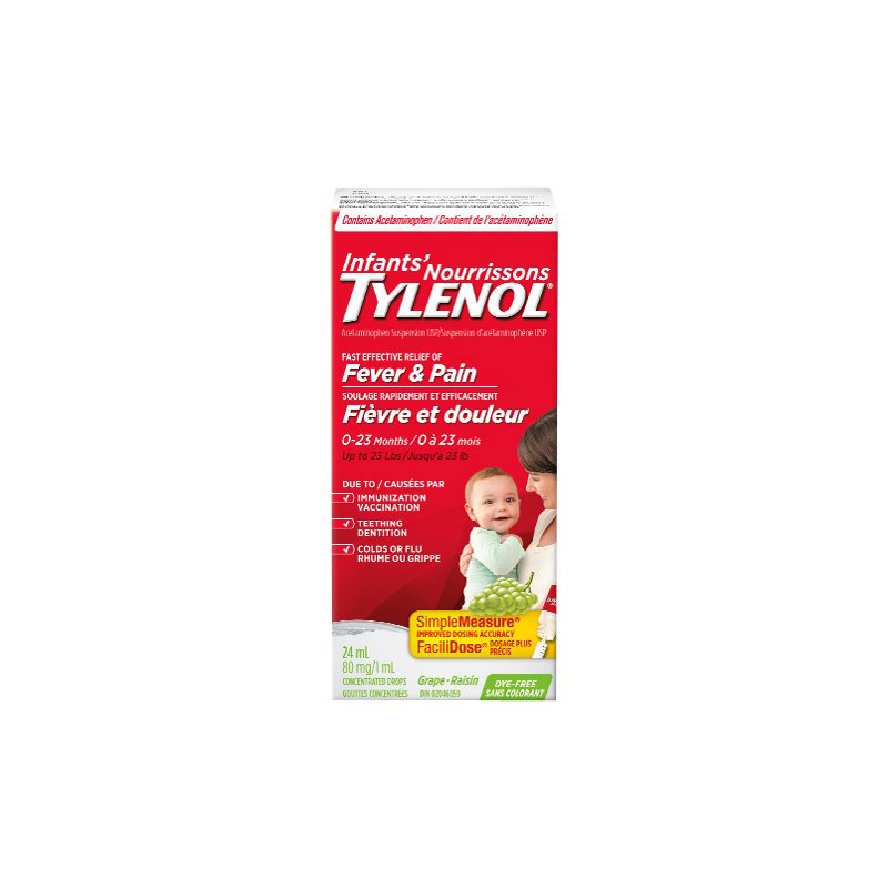 Tylenol Infant Fever and Pain Relief Suspension Drops - Dye Free - Grape Flavour - 24ml