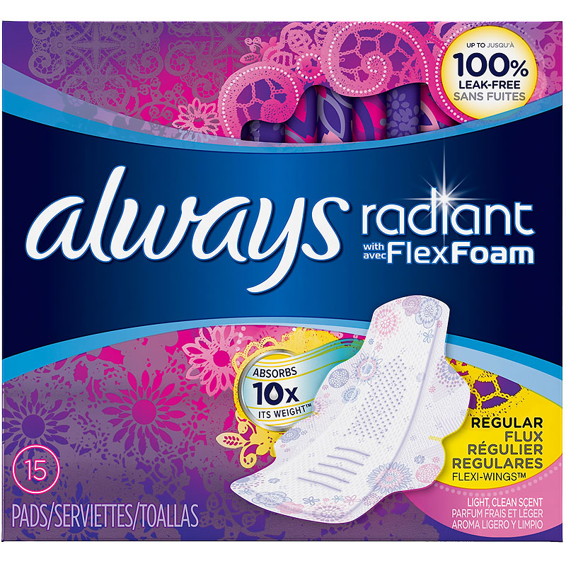 Always Radiant Pads - Regular - 15's