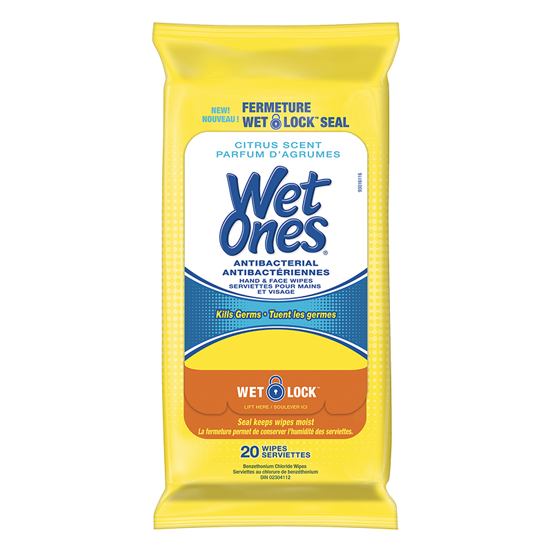 Wet Ones Anti-Bacterial Hand & Face Wipes - Citrus - 20's