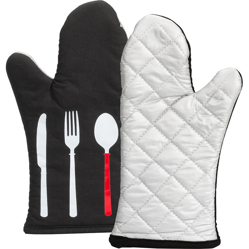 Boutique Printed Oven Mitts - White - 2 pack