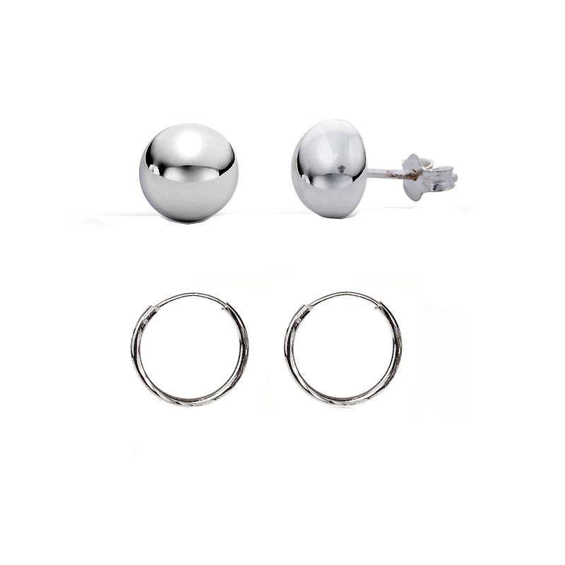 Charisma Sterling Silver Dome & Hoop Earring Set - 2 pairs