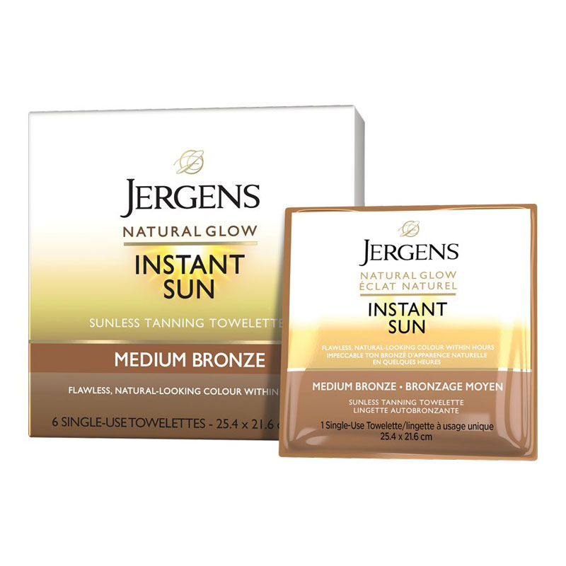 Jergens Natural Glow Instant Sun Sunless Tanning Towelettes Medium Bronze 6 S London Drugs