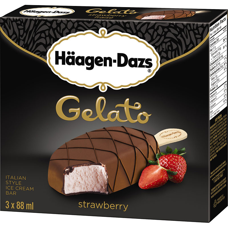 Haagan Dazs Gelato - Strawberry - 3x88ml