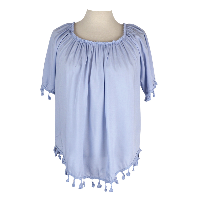 Lava Short Sleeve Tassels Trim Top - Light Blue