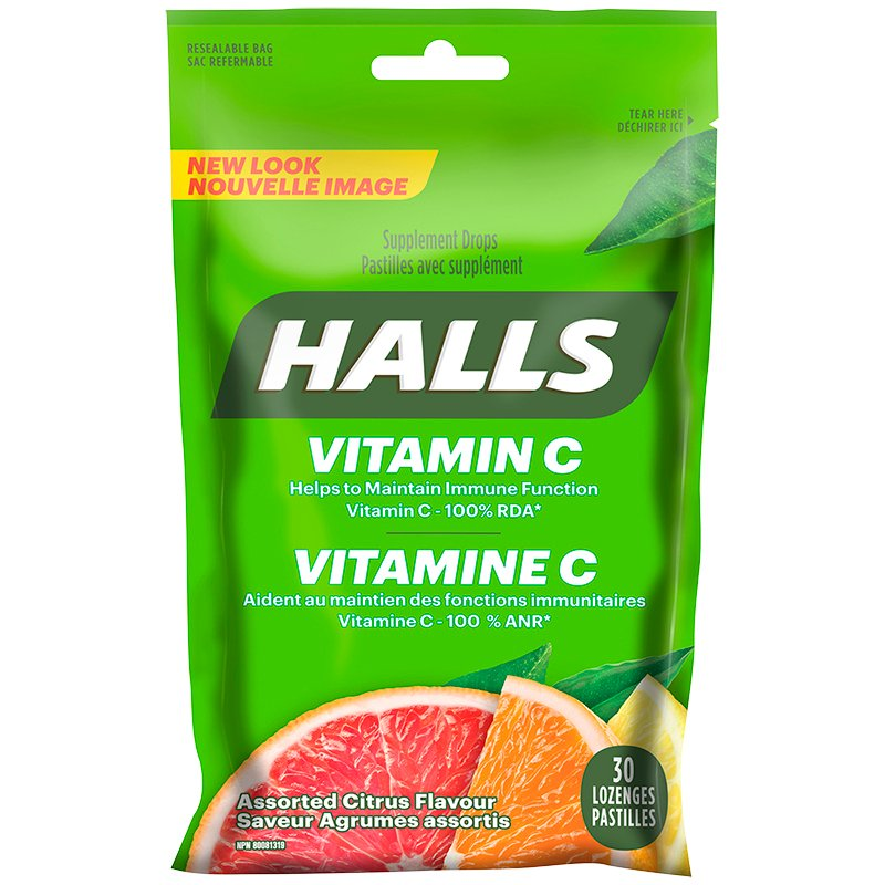 Halls Vitamin C Supplement Drops - Assorted Citrus - 30's