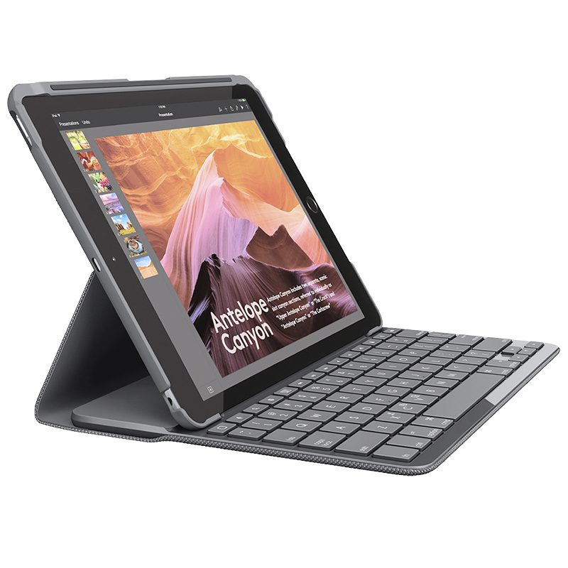 Logitech Slim Folio Bluetooth iPad Keyboard Case - 2017 iPad - Black - 920-008617