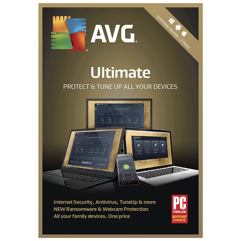 AVG Ultimate Internet Security - Unlimited Devices - 2 Year - PC TuneUp