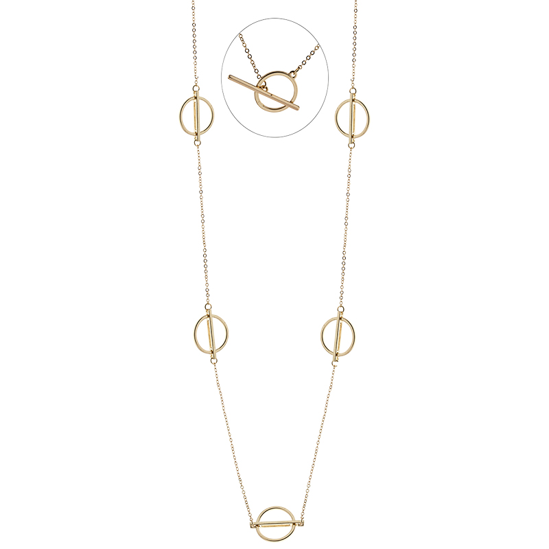 Dash of Gold Spaced Rings Necklace - Gold Tone