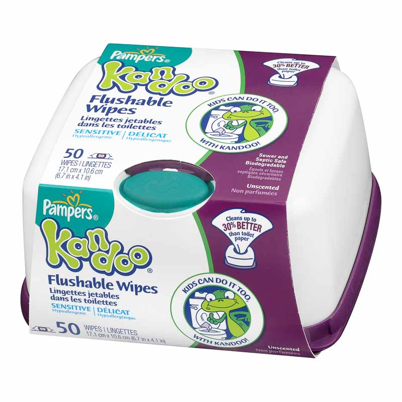 Kandoo Flushable Toilet Wipes - Sensitive - 50's/Tub