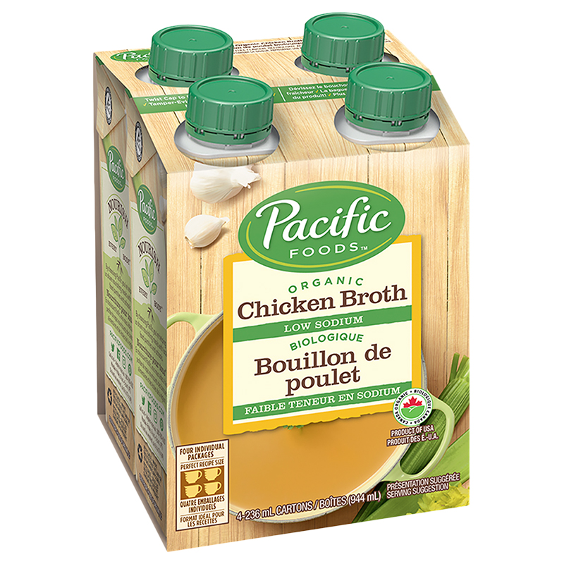 Pacific Organic Chicken Broth - Low Sodium - 4 x 236ml