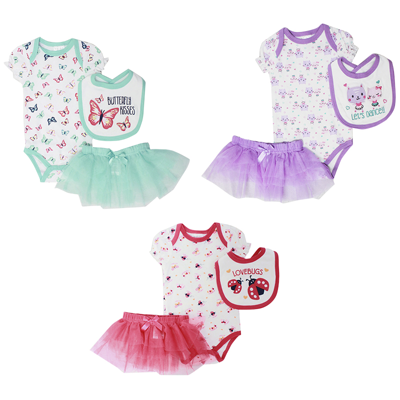 Baby Mode 3-Piece Bodysuit Set - Girls - 0-9 months - Assorted