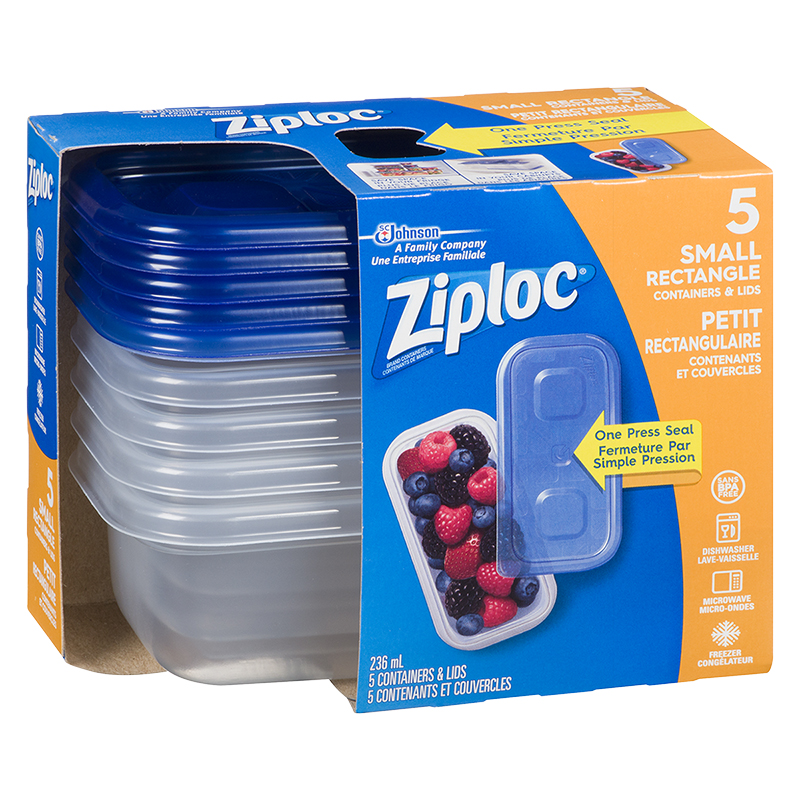 Ziploc Rectangle Containers - Small - 5's