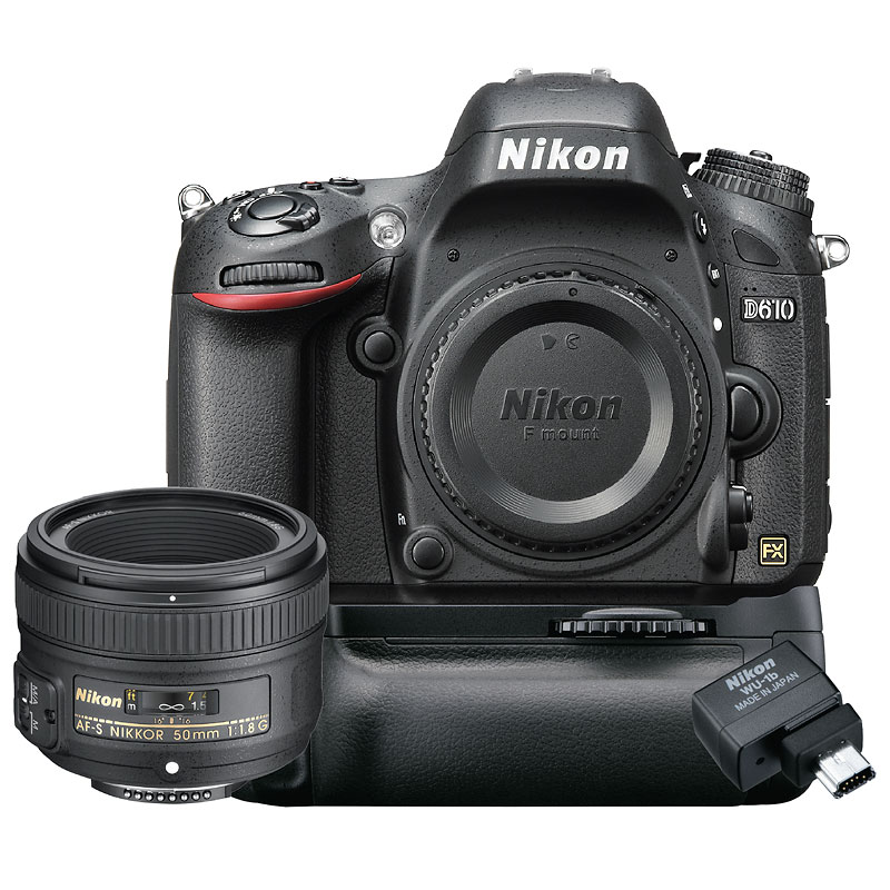 Nikon D610 Holiday Bundle with 50mm Lens + Battery Grip and Wireless Transmitter - 30599