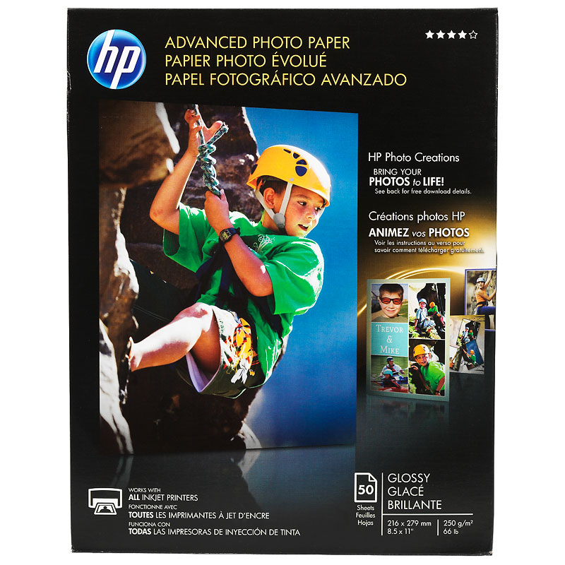 HP Advanced Glossy Photo Paper - 8.5 x 11 inch - 50 Sheets - Q7853A