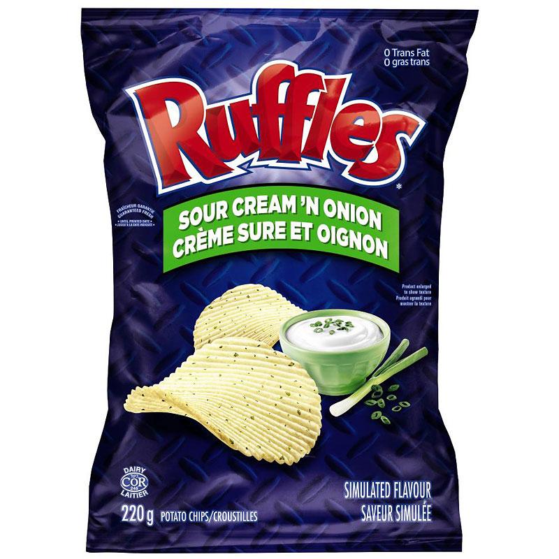 Ruffles Potato Chips - Sour Cream & Onion - 220g | London Drugs