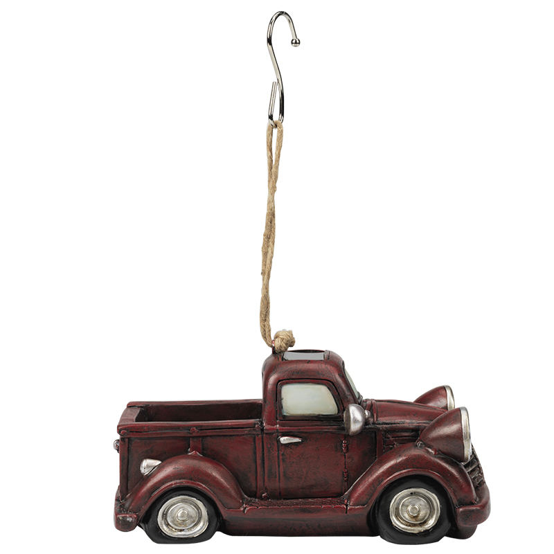 Décor Solar Pickup with Light - Antique Red - AP3675BG