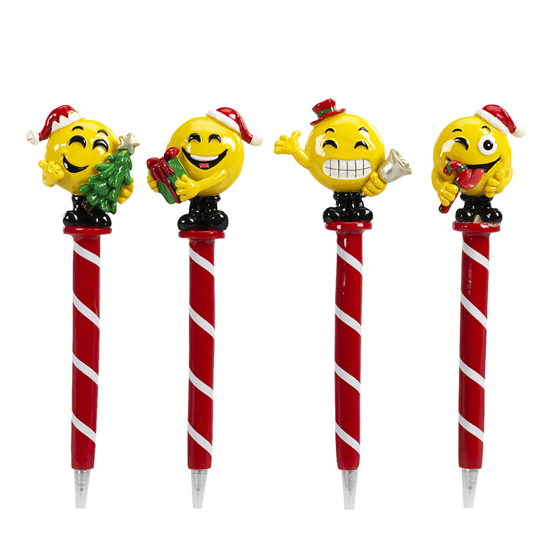 Hand Painted Christmas Emoji Pen - Assorted